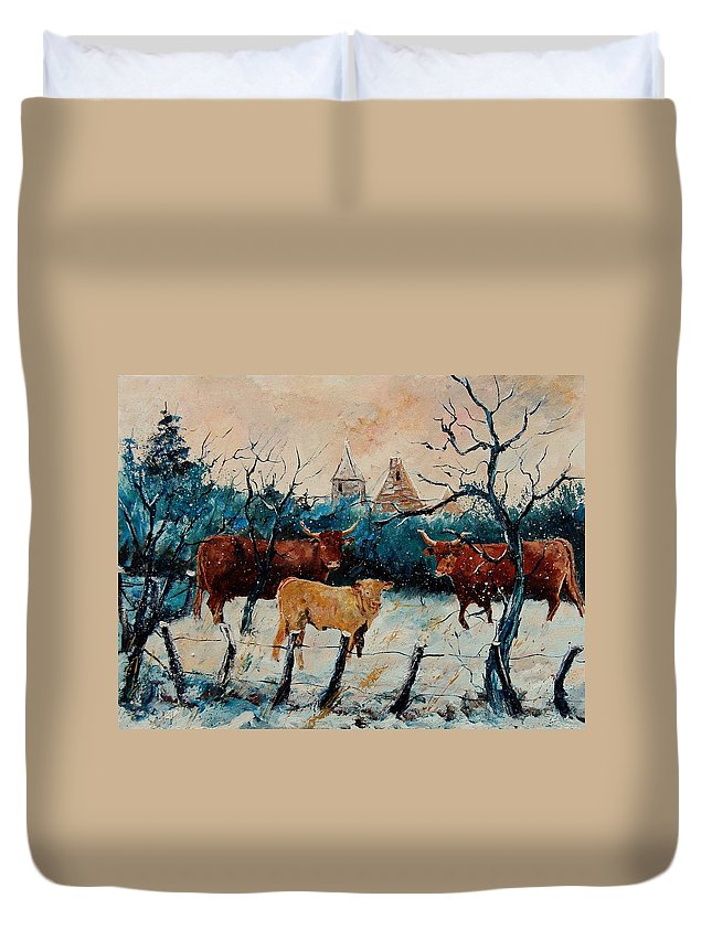 Animal Duvet Cover featuring the painting Cows by Pol Ledent