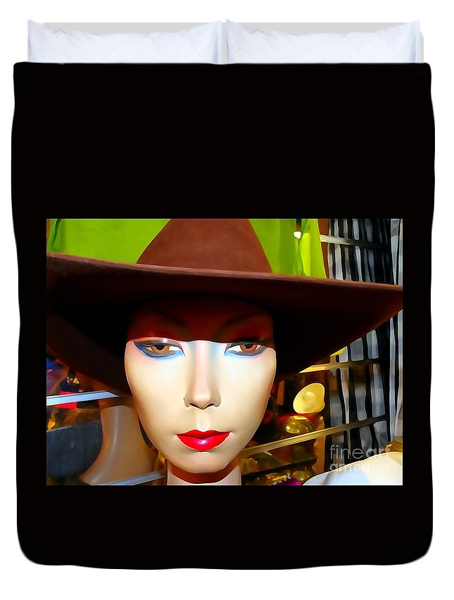 Mannequins Duvet Cover featuring the photograph Coy Cowgirl by Ed Weidman