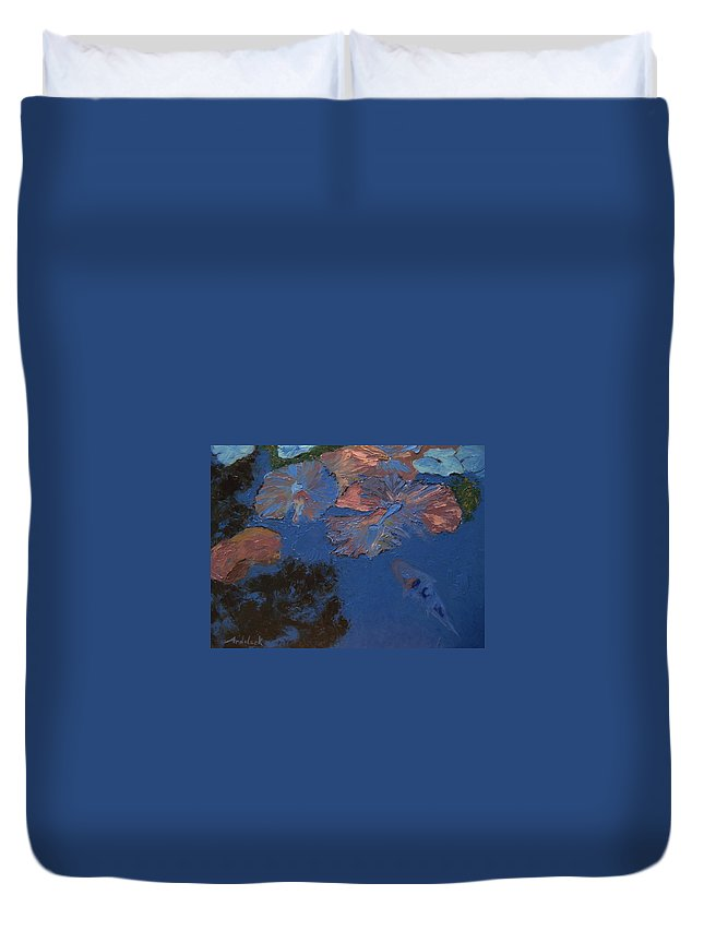 Floral Duvet Cover featuring the painting Coy Koi by Barbara Andolsek