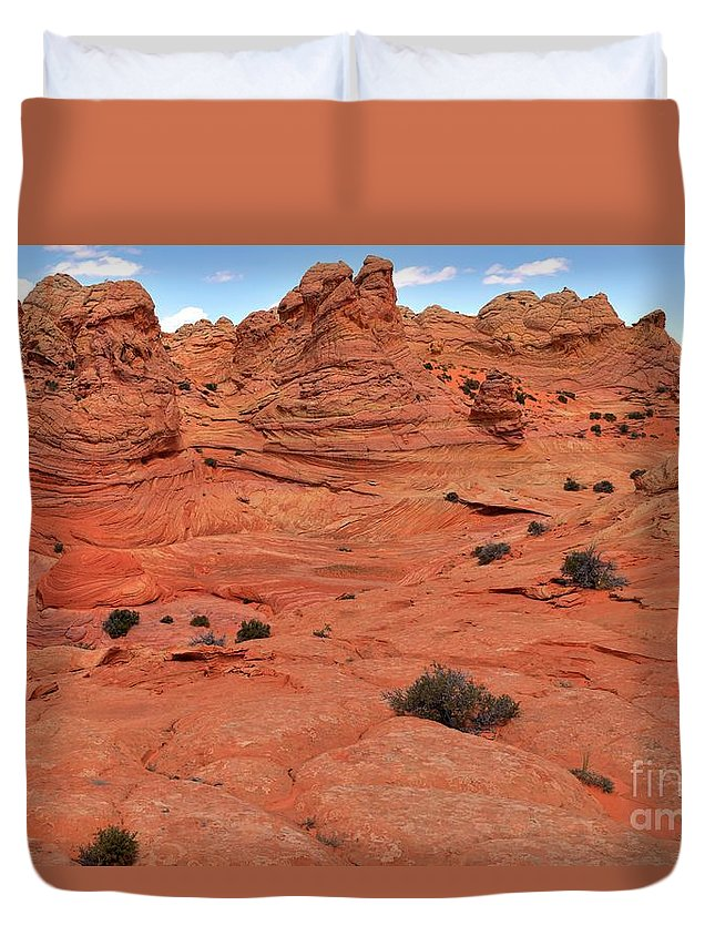 Vermilion Cliffs Panorama Duvet Cover featuring the photograph Coyote Buttes Pink Landscape by Adam Jewell