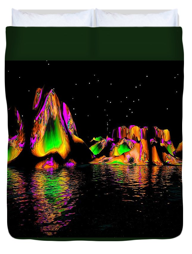Mountains Duvet Cover featuring the digital art Coyote Moon by Robert Orinski