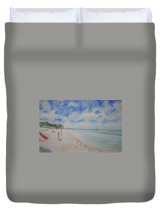 Sea Scape Duvet Cover featuring the painting Cozumel Mexico by Tom Harris