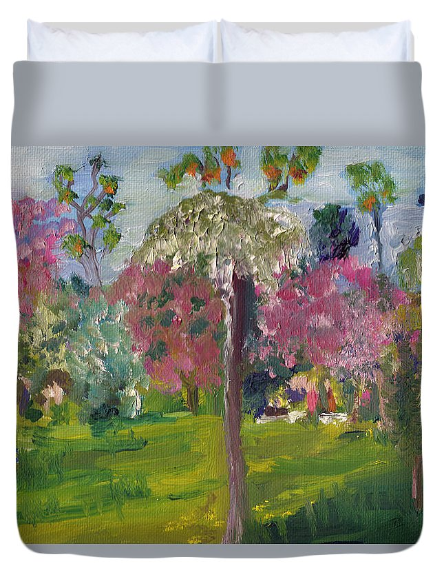 Landscape Duvet Cover featuring the painting Crab Apple Blossom Time by Paul Thompson