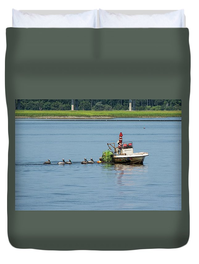 Crabber Duvet Cover featuring the photograph Crab Catcher by Ed Waldrop