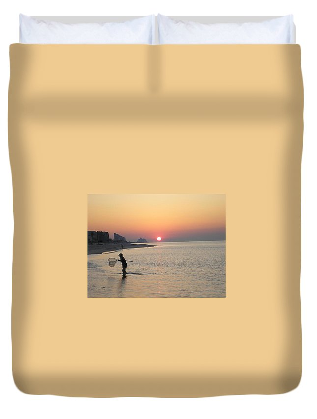 Sunrise Duvet Cover featuring the photograph Crabbing by Kelly Potochick-Burtt