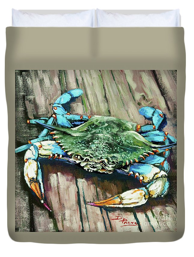 New Orleans Art Duvet Cover featuring the painting Crabby Blue by Dianne Parks