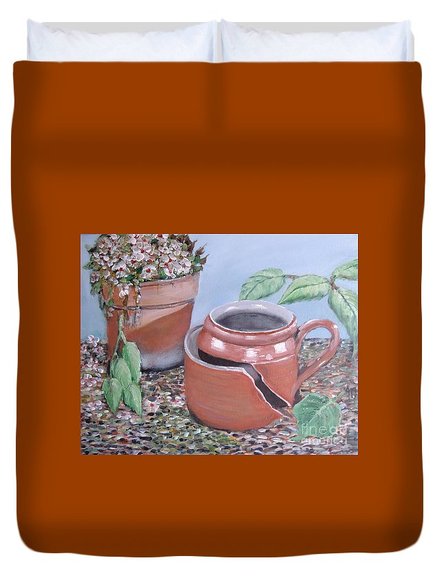 Still-life Duvet Cover featuring the painting Cracked by Angela Cartner