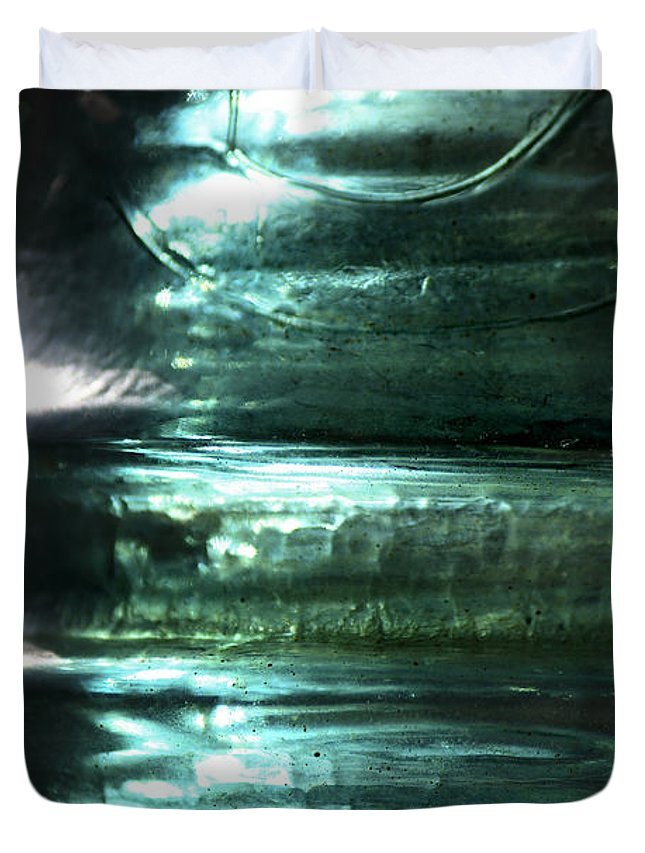 Glass Duvet Cover featuring the photograph Cracked Glass by Sari Sauls