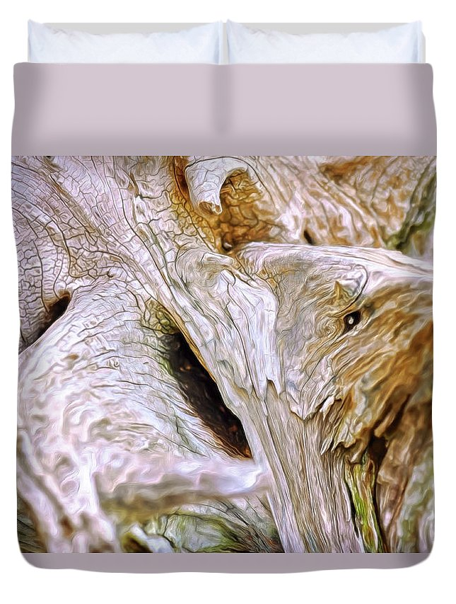 Cracked Dead White Wood Dark Contrast Color Chiaroscuro Renaissance Mehta Xephon Painting Cancer Hope Duvet Cover featuring the digital art Cracking Wood by Doctor MEHTA