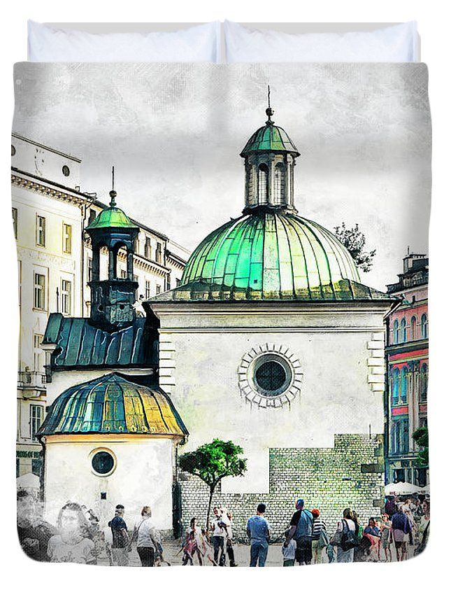 Cracow Duvet Cover featuring the digital art Cracow Art 3 by Justyna JBJart