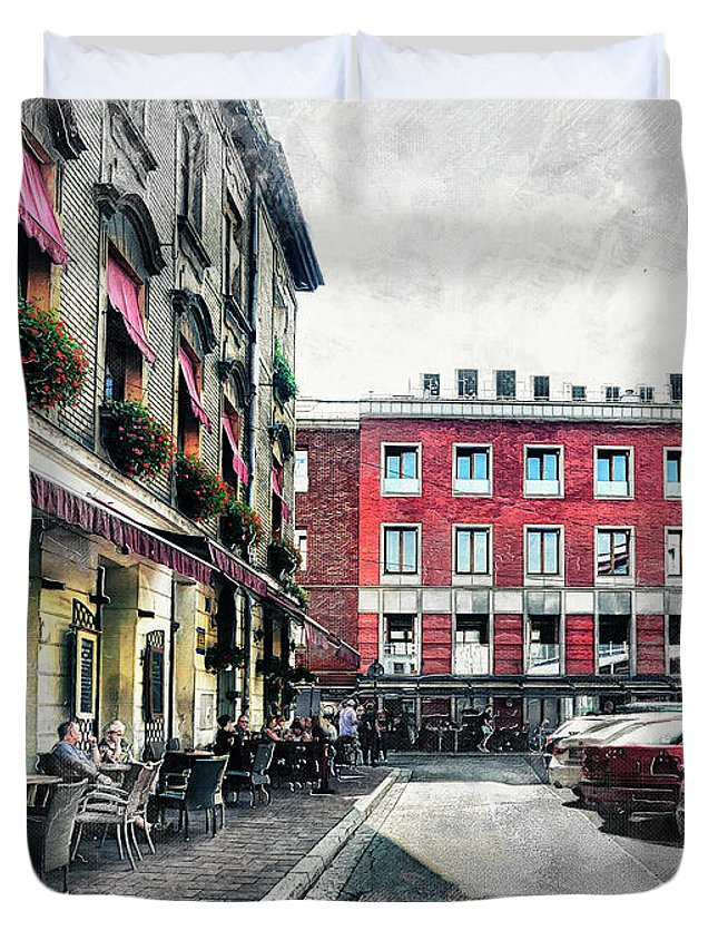 Cracow Duvet Cover featuring the digital art Cracow Art 4 Kazimierz by Justyna JBJart