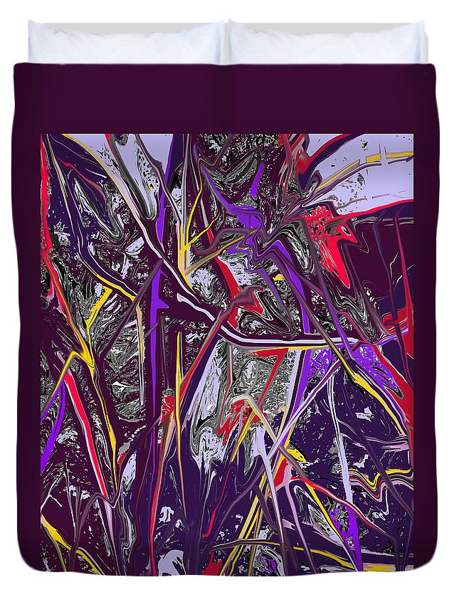 Abstract Duvet Cover featuring the digital art Crash by Ian MacDonald