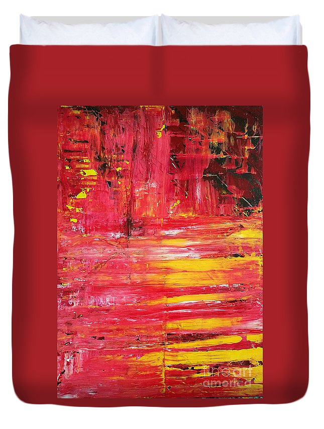 Original Duvet Cover featuring the painting Crash by Yueer Xu