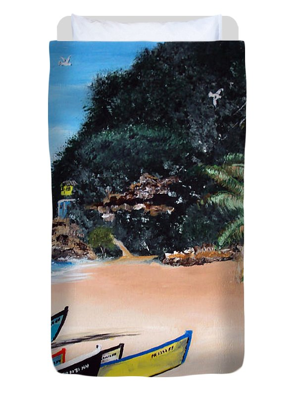 Aguadilla Duvet Cover featuring the painting Crashboat Beach I by Luis F Rodriguez