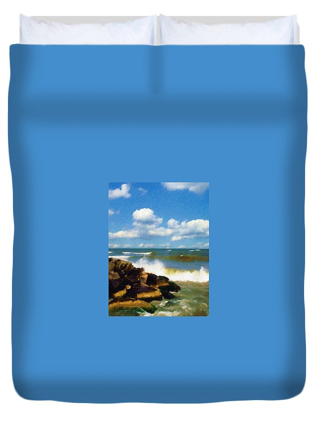 Seascape Duvet Cover featuring the photograph Crashing Into Shore by Sandy MacGowan