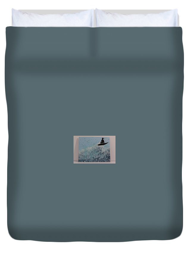 Wave Duvet Cover featuring the painting Crashing by Ruby Palmer