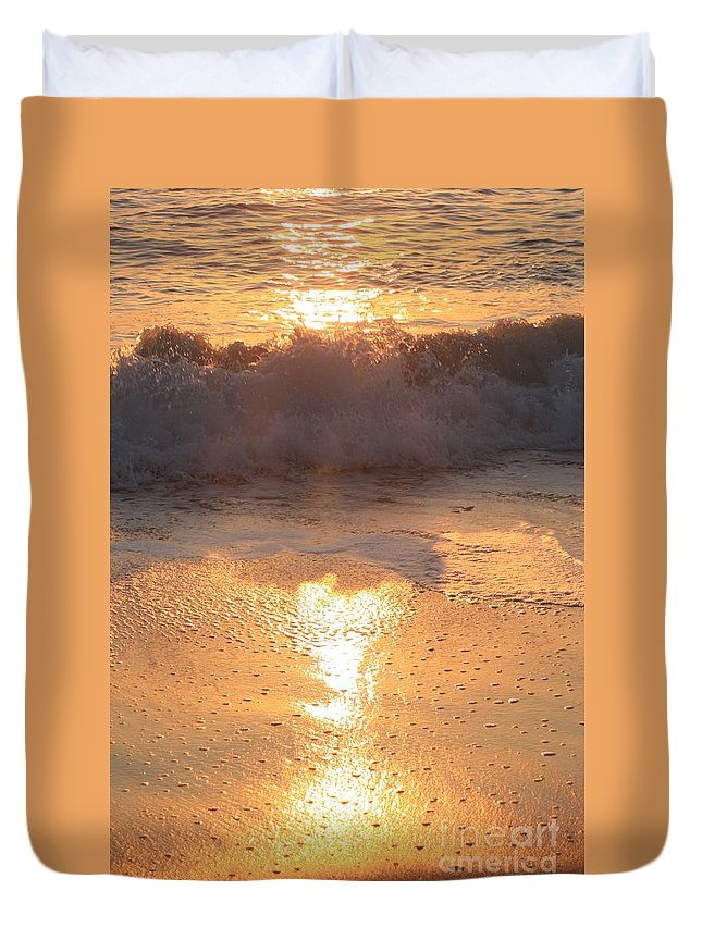Waves Duvet Cover featuring the photograph Crashing Wave At Sunrise by Nadine Rippelmeyer