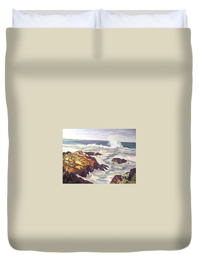 Water Duvet Cover featuring the painting Crashing Wave On Maine Coast by Richard Nowak