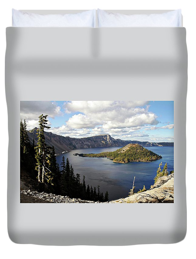 Peaceful Duvet Cover featuring the photograph Crater Lake - Intense blue waters and spectacular views by Alexandra Till