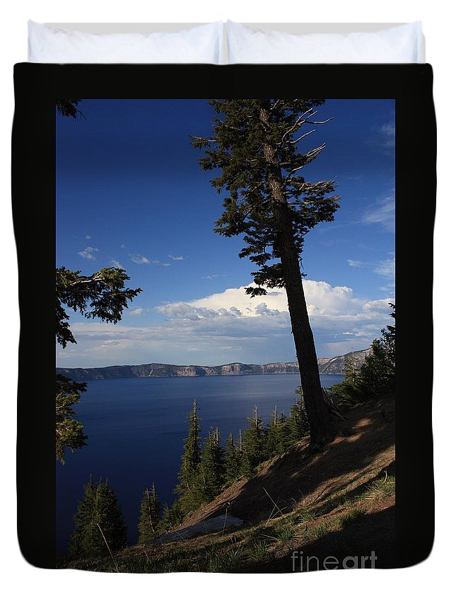 Landscape Duvet Cover featuring the photograph Crater Lake 7 by Carol Groenen
