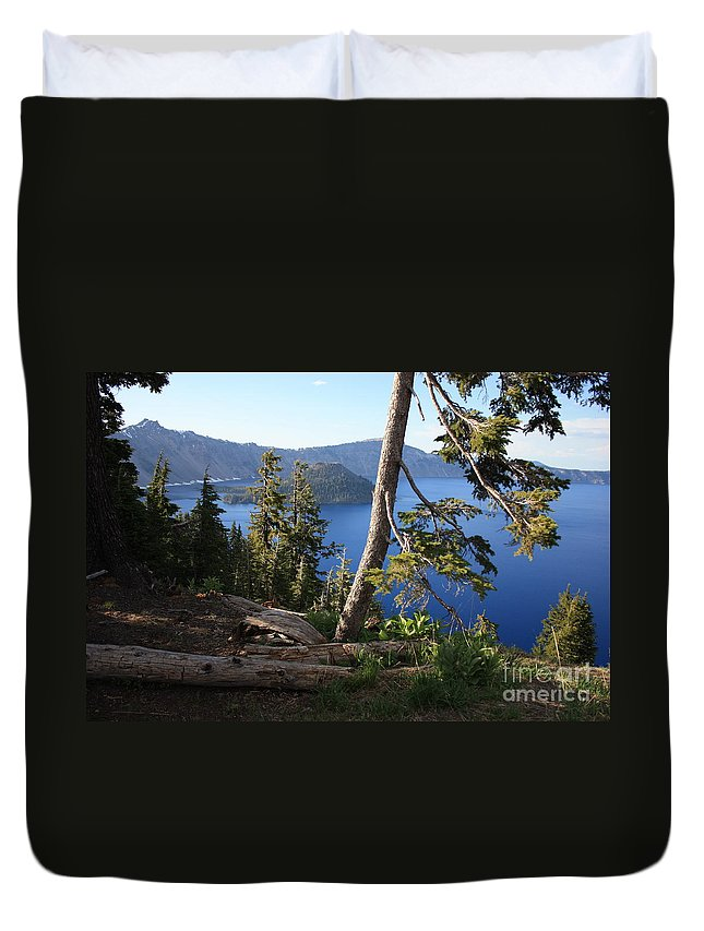 Crater Lake Duvet Cover featuring the photograph Crater Lake 9 by Carol Groenen