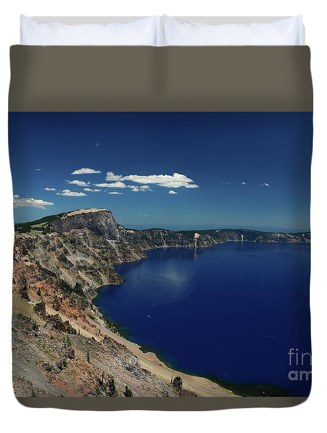 Crater Lake Duvet Cover featuring the photograph Crater Lake A Caldera Lake by Christiane Schulze Art And Photography
