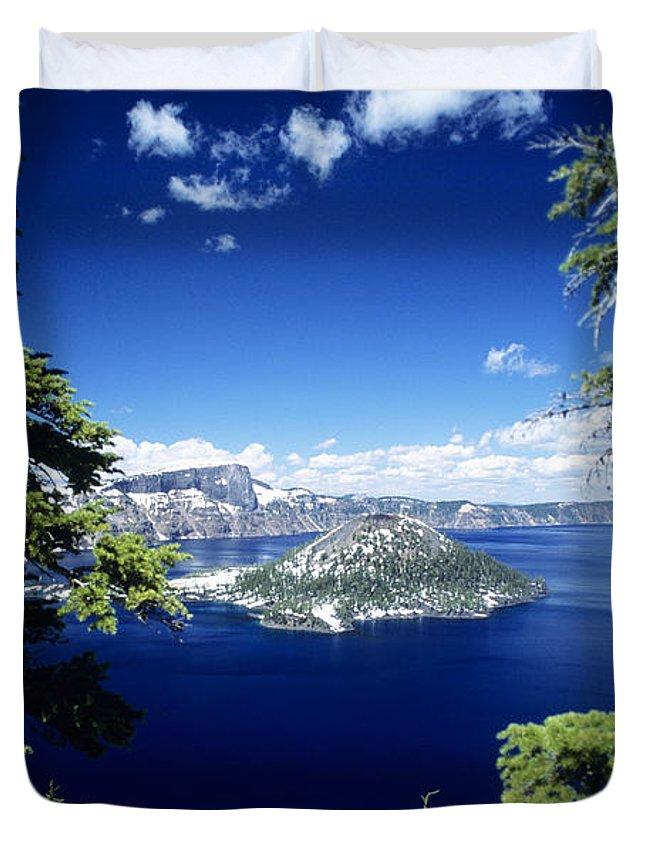 Allan Seiden Duvet Cover featuring the photograph Crater Lake by Allan Seiden - Printscapes
