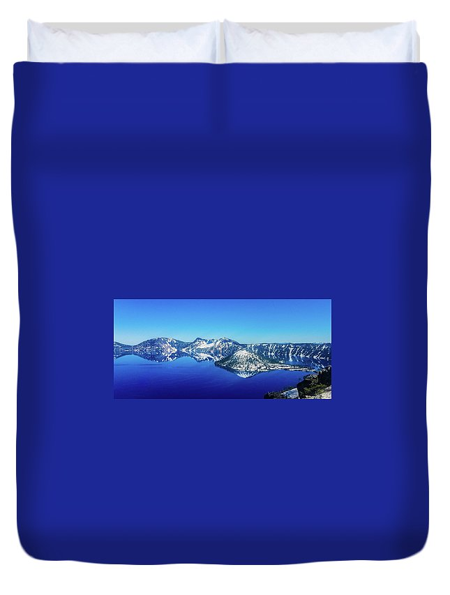 Lake Duvet Cover featuring the photograph Crater Lake Blue by Jonny D