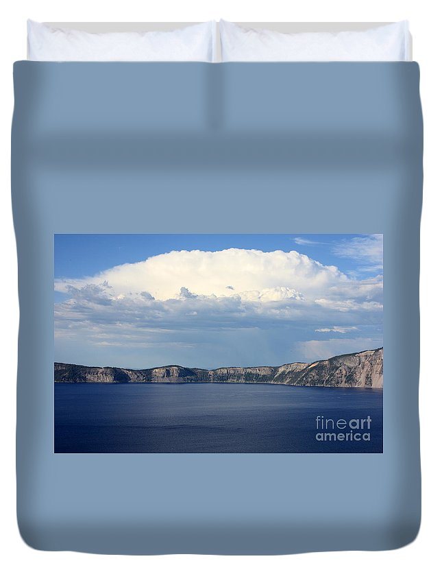 Clouds Duvet Cover featuring the photograph Crater Lake by Carol Groenen