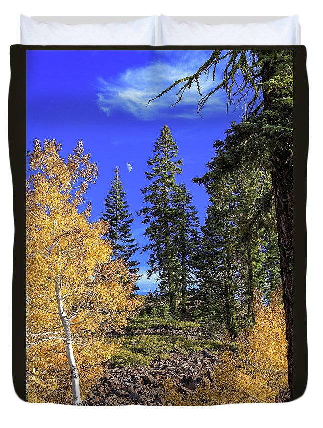 Landscape Duvet Cover featuring the photograph Crater Moon by James Eddy
