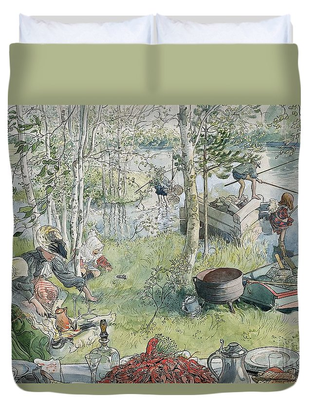 Crayfishing Duvet Cover featuring the painting Crayfishing by Carl Larsson