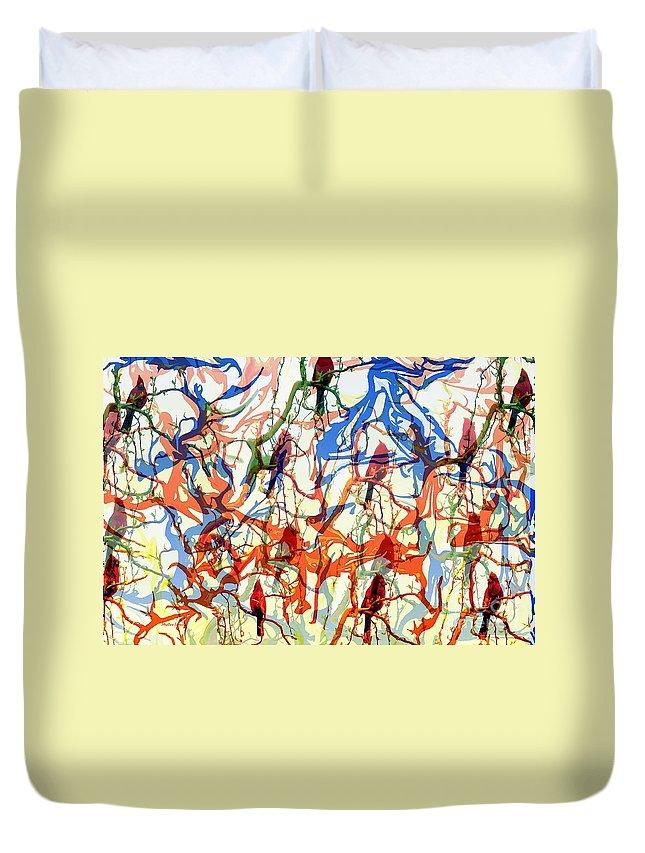 Birds Duvet Cover featuring the digital art Crazy Cardinals by Shelley Jones