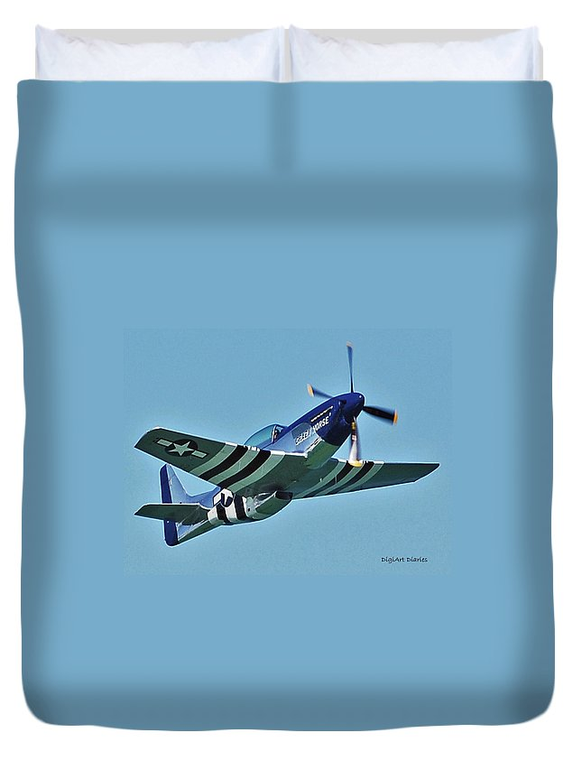 Jet Duvet Cover featuring the digital art Crazy Horse From Air Show by DigiArt Diaries by Vicky B Fuller