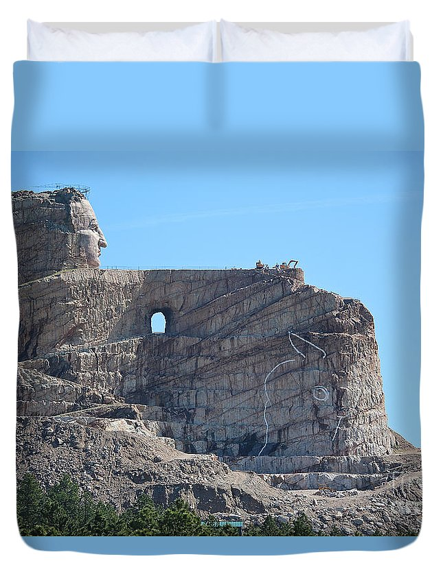 Crazy Horse Duvet Cover featuring the photograph Crazy Horse by Susan Herber