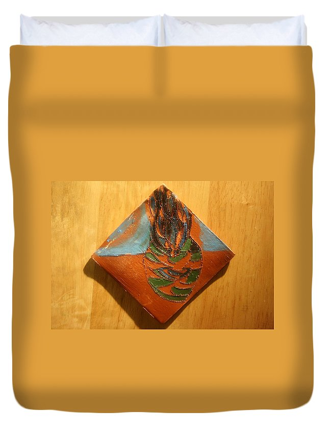 Jesus Duvet Cover featuring the ceramic art Crazy Pineapple - Tile by Gloria Ssali