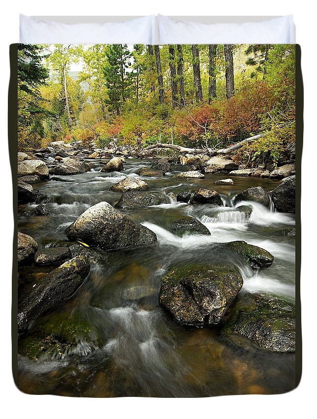 Crazy Woman Creek Duvet Cover featuring the photograph Crazy Woman Creek In Autumn by Larry Ricker