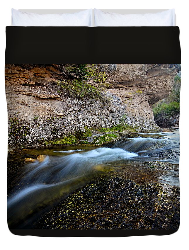 Crazy Woman Creek Duvet Cover featuring the photograph Crazy Woman Creek by Larry Ricker