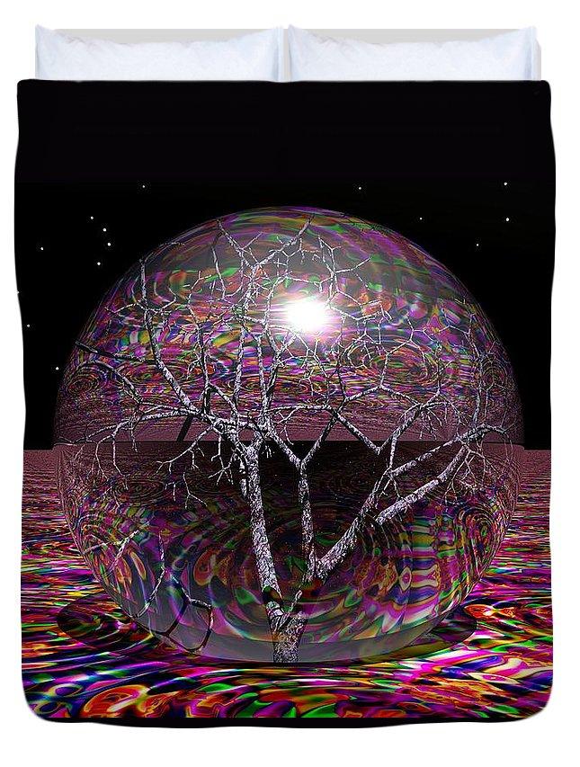 Sphere Duvet Cover featuring the digital art Crazy World by Robert Orinski