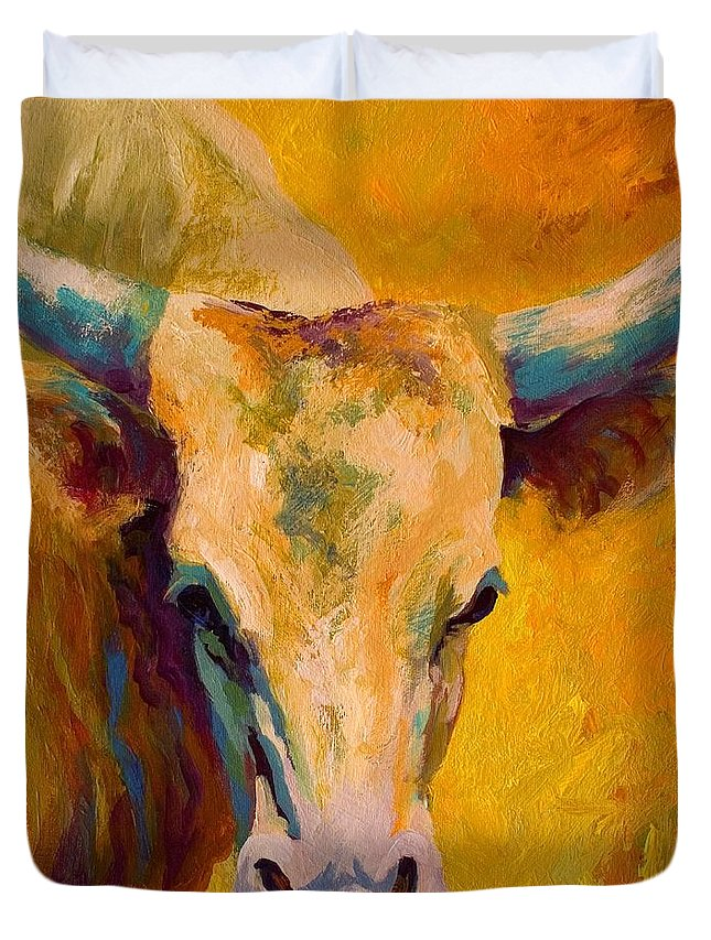 Longhorn Duvet Cover featuring the painting Creamy Texan - Longhorn by Marion Rose