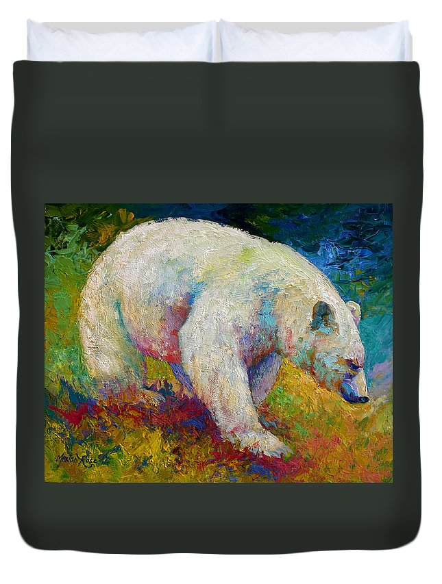 Western Duvet Cover featuring the painting Creamy Vanilla - Kermode Spirit Bear Of BC by Marion Rose