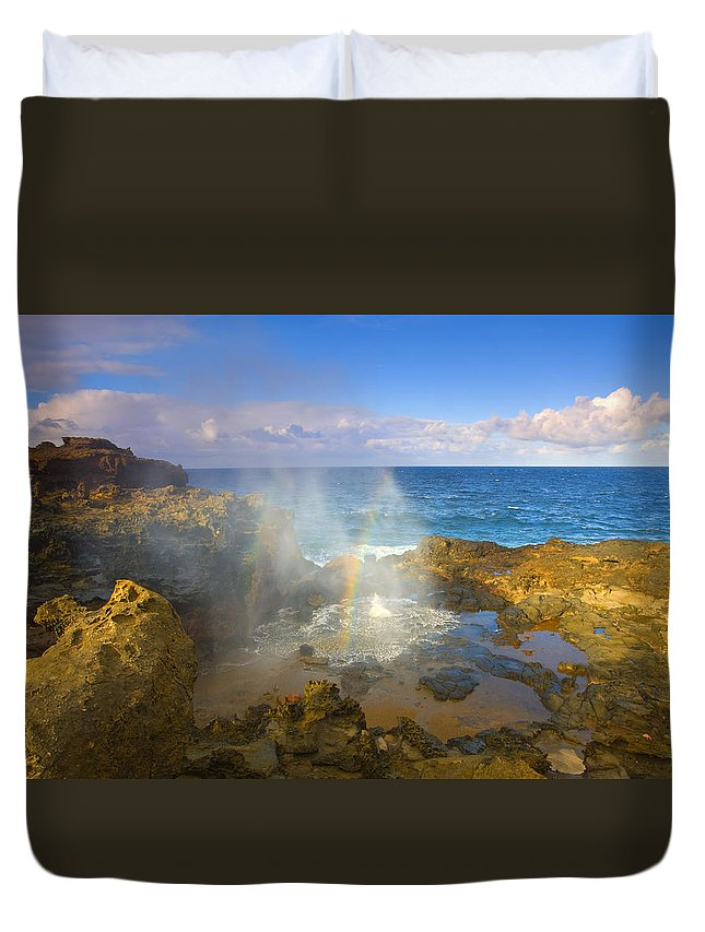 Blowhole Duvet Cover featuring the photograph Creating Miracles by Mike Dawson