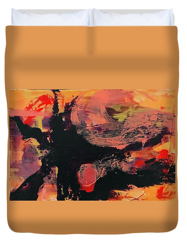 Painting Duvet Cover featuring the painting Creation by Laura Jaffe