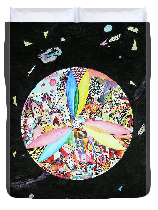 Abstract Duvet Cover featuring the mixed media Creation by Steve Karol