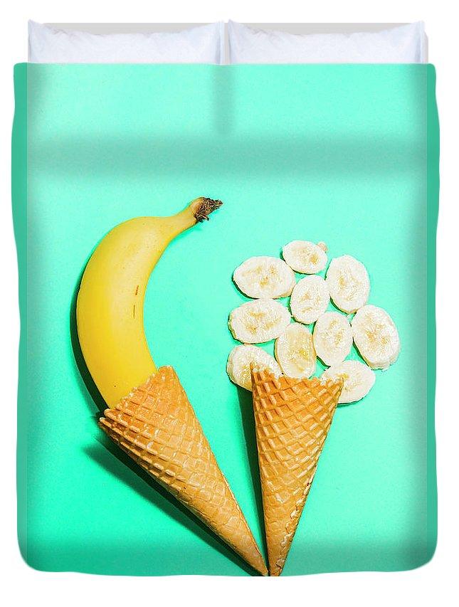 Creative Duvet Cover featuring the photograph Creative Banana Ice-cream Still Life Art by Jorgo Photography - Wall Art Gallery