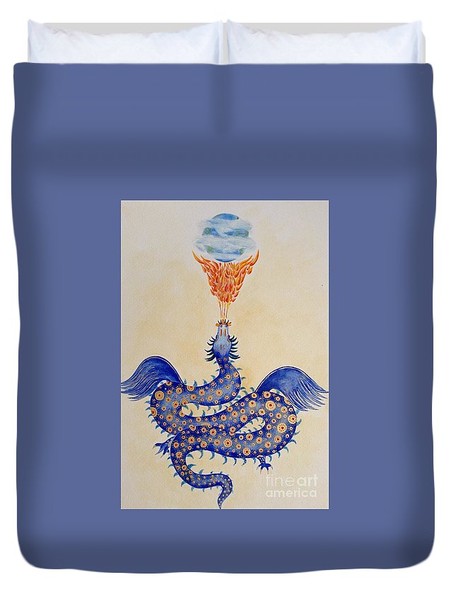 Dragon Duvet Cover featuring the painting Creative Force by Rohanna Salom