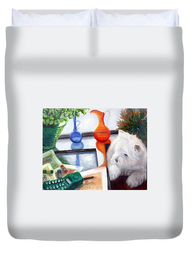 Dog Duvet Cover featuring the painting Creative Reflections by Minaz Jantz