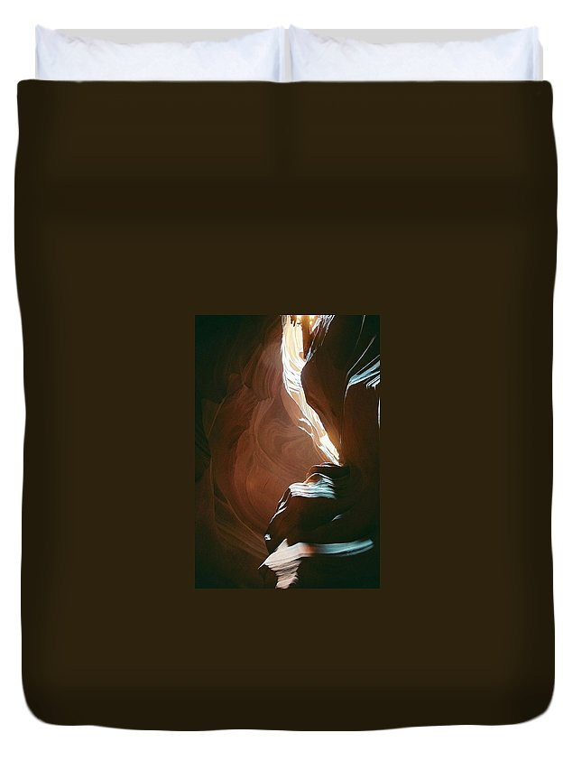 Landscape Duvet Cover featuring the photograph Creative Sandstone by Cathy Franklin