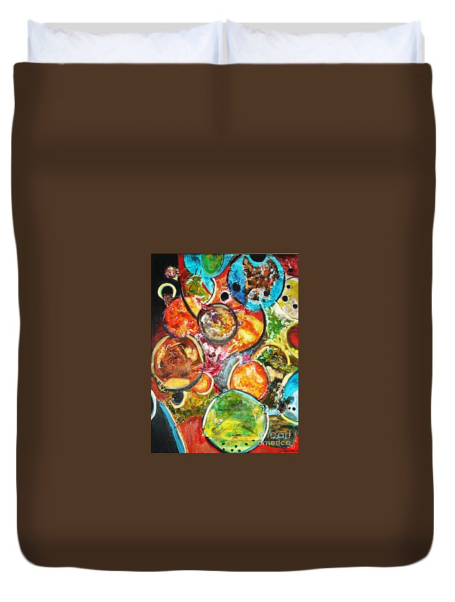 Acrylic Painting Duvet Cover featuring the painting Creative by Yael VanGruber