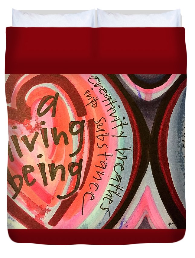 Creativity Duvet Cover featuring the painting Creativity Breathes by Vonda Drees