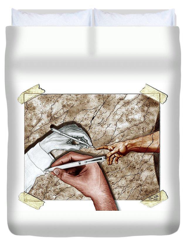 Creators Hand At Work Duvet Cover featuring the digital art Creators Hand At Work - Colored by Peter Piatt